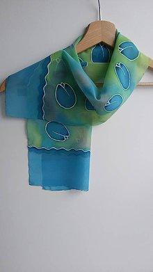 Šatky - Dámska šifónová šatka - Modré tulipány - 9361232_