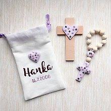 Detské doplnky - Detský set ku krstu - ruženec a krížik fialový vo vrecúšku - 9362830_
