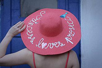 Čiapky - Letný slamený kloúk (Korálový letný slamený klobúk) - 9361644_