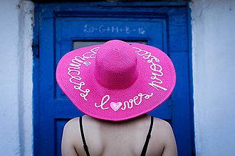 Čiapky - Letný slamený kloúk (Cyklamenový letný slamený klobúk) - 9361646_