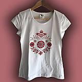 Tričká - Dámske FOLK tričko - červený ornament - 9362295_