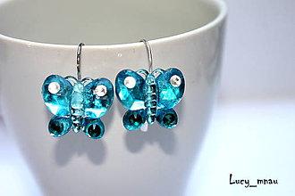 Náušnice - Náušničky motýliky-modré :) - 9362104_