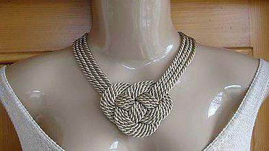 Náhrdelníky - Uzlový náhrdelník hrubý (béžový, č. 1804) - 9361726_