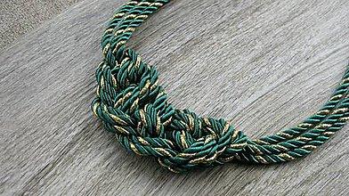 Náhrdelníky - Uzlový náhrdelník z troch šnúr (zeleno zlatý č. 1958) - 9362107_