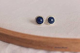 Náušnice - strieborné napichovacie náušnice - lapis lazuli - 9361327_