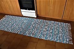 Úžitkový textil - Tkaný koberec bielo-sivo-tyrkysový - 9361570_