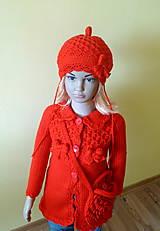 Detské čiapky - Cervena baretka s maslou - 9362883_