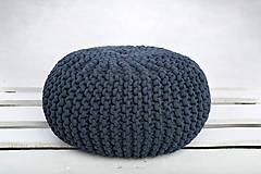 Úžitkový textil - Puf z hrubých šnúr (Modrá ryfľová) - 9364392_