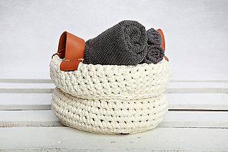 Košíky - Košik s koženými rúčkami (biely) - 9364128_