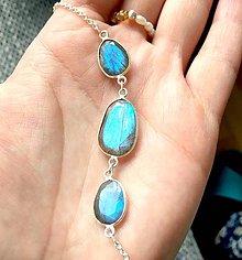 Náramky - Labradorite Silver Plated Bracelet / Postriebrený náramok s modrým labradoritom #0329 - 9363878_