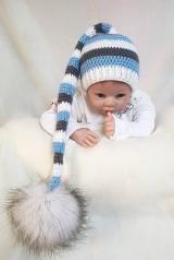 Detské čiapky - Modro-sivá elfová čiapočka - 9365802_