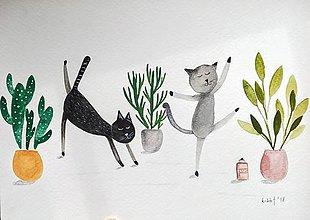 Obrazy - Mačky na joge ilustrácia  / originál maľba  - 9364075_