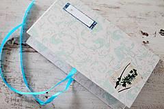 Papiernictvo - Scrapbook obálka na peniaze - tyrkysová - 9364644_