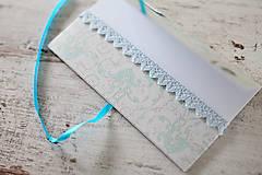 Papiernictvo - Scrapbook obálka na peniaze - tyrkysová - 9364645_