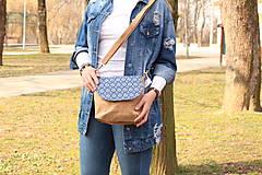 - Korková kabelka modrý ornament - 9363780_