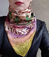 Šatky - Pobrežie ľalií-hodvábna maľovaná šatka - 9363972_