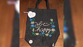 Iné tašky - ♥ Rifľová, ručne maľovaná taška s vreckom ♥ - 9363400_