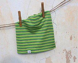Detské čiapky - Dvojvrstvová detská merino čiapka zelený šmolko - 9364134_