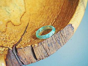 Prstene - Pastelový mint prstienok bez lôžka s trblietkami - 9365079_