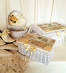 Košíky - Mandľový svadobný set - 9363843_