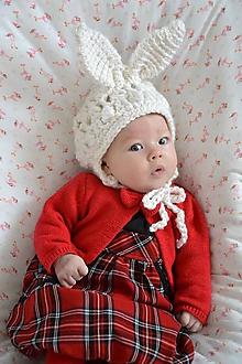 Detské čiapky - Veľkonočný zajačik, čiapočka - 9366009_