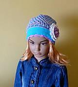 Detské čiapky - Tyrkysovo fialovo biela prechodna - 9366120_