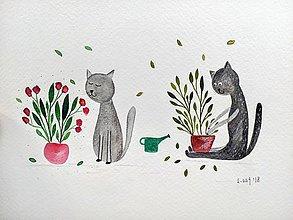 Kresby - Kocúrkovo 1 ilustrácia  / originál maľba - 9367685_