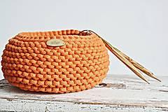 Košíky - Pletený košík - oranžový - 9367069_