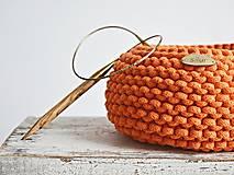 Košíky - Pletený košík - oranžový - 9367070_