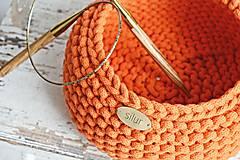 Košíky - Pletený košík - oranžový - 9367071_