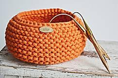 Košíky - Pletený košík - oranžový - 9367072_