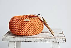 Košíky - Pletený košík - oranžový - 9367073_