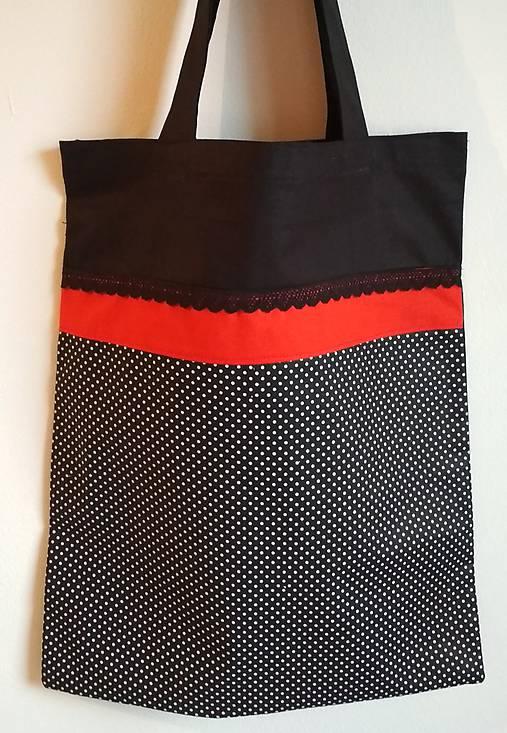 Nákupná taška  čierna- bodky