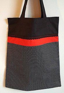 Nákupné tašky - Nákupná taška  čierna- bodky - 9368091_