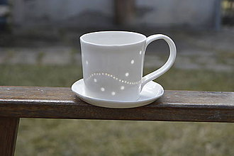 Nádoby - Madeirová porcelánová šálka rovná (Vlnky) - 9367089_