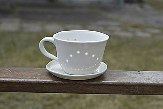 Nádoby - Madeirová porcelánová šálka nižšia Vlnky - 9367199_