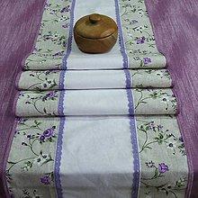 Úžitkový textil - Fialové ťahavé ruže(4) - stredový obrus - 9367764_