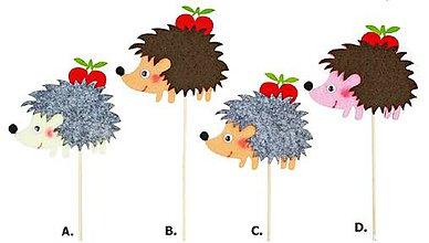 Iný materiál - Zápich ježko s jabĺčkom 8cm + špajla - 9368419_