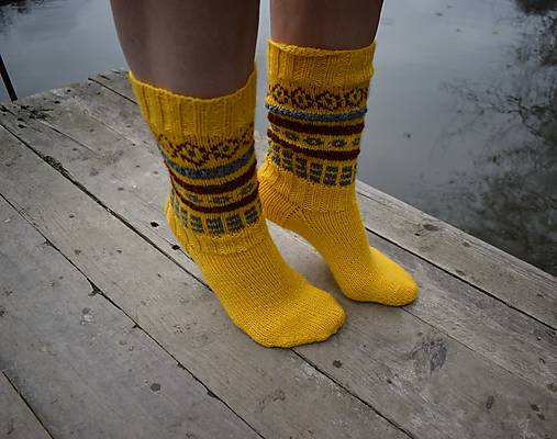 9b64e9ecd Žlté ponožky s nórskym vzorom (v.37-38) / Eva64 - SAShE.sk ...