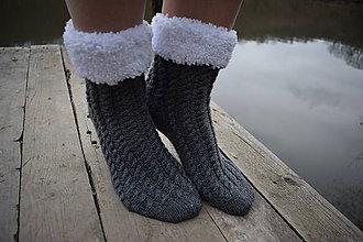 Obuv - šedé osmičkové ponožky s bielou záložkou (v.39-40) - 9367847_