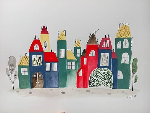 Mesto 37 ilustrácia  / originál maľba