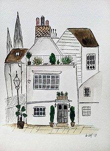 Obrazy - Mesto biely dom  ilustrácia  / originál maľba - 9369865_