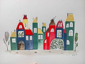 Obrazy - Mesto 37 ilustrácia  / originál maľba - 9370362_