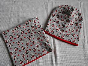 Detské čiapky - čiapka a nákrčník červeno šedá - 9370184_