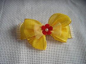 Detské doplnky - sponka - žltá mašlička - 9371338_
