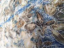 Šály - Vedomie prírody- ecoprint hodvábny šál - 9369340_