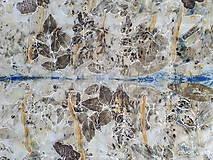 Šály - Vedomie prírody- ecoprint hodvábny šál - 9369342_