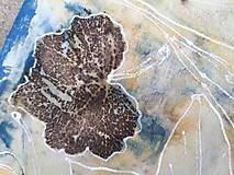 Šály - Vedomie prírody- ecoprint hodvábny šál - 9369343_