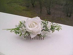 Ozdoby do vlasov - Svadobný kvetinový hrebienok do vlasov