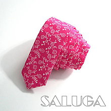 Doplnky - Slim cyklamenová kravata - vzorovaná - pánska - 9370239_